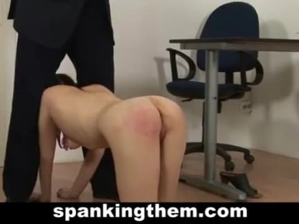 Spanking lesson for college babe