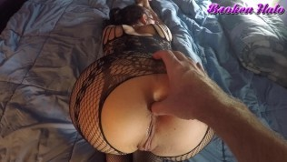 Milf housewife in bodystocking gets pussy and ass fingered and spanked
