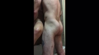Milf watches her own porn in the shower. Gets spanked and fucked