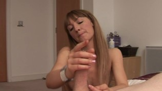 Wanking girlfriend spanks bfs dick