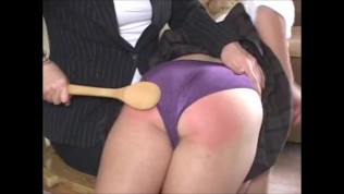 cute college girl, spanked with kitchen spoon by governess