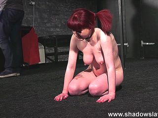 Firm spanking and whipping to tears of tied Louise Red
