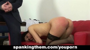 Young secretary spanked by her cruel boss