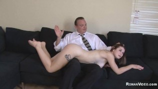 Daddy daughter OTK spanking bondage rough sex and whipping and blowjob