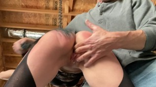 Skinny Girl Spanked, Whipped, Cums and Squirts all over my leg